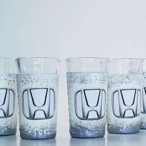 Honda röviditalos pohárszett, feles pohár, snapszos pohár pálinkának autórajongói ajándék szülinapra, névnapra..., Otthon & lakás, Férfiaknak, Konyhafelszerelés, Legénylakás, Sör, bor, pálinka, Decoupage, transzfer és szalvétatechnika, Honda röviditalos pohárszett, feles pohár, snapszos pohár pálinkának autórajongói ajándék szülinapr..., Meska