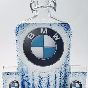 BMW pálinkás üveg, BMW csatos üveg, BMW rajongói ajándék röviditalos poharakkal szülinapra, névnapra, karácsonyra., Otthon & Lakás, Dekoráció, Díszüveg, BMW pálinkás üveg, BMW csatos üveg, BMW rajongói ajándék röviditalos poharakkal szülinapra, névnapra..., Meska