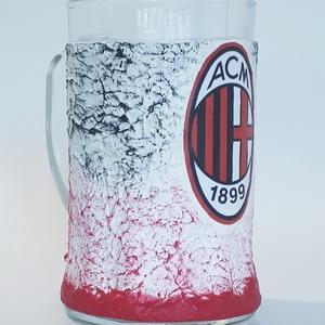 AC Milan  sörös korsó  futball rajongói ajándék férfiaknak, férjeknek, barátoknak, Otthon & Lakás, Dísztárgy, Dekoráció, Ac Milan sörös korsó futball  rajongói ajándék férfiaknak, férjeknek, barátoknak Sör kedvelőknek köt..., Meska