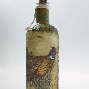Fácános dísz-és használati italos üveg, pálinkás üveg vadászat, fácán  kedvelőknek. , Otthon & Lakás, Díszüveg, Dekoráció, Fácános dísz-és használati italos üveg, pálinkás üveg vadászat, fácán  kedvelőknek. (750 ml)  A küls..., Meska
