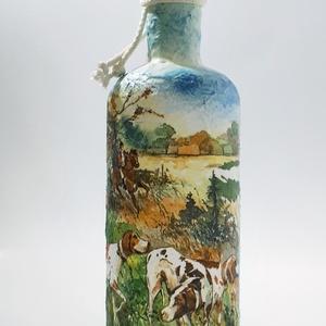 Vadászkutyás dísz-és használati italos üveg, pálinkás üveg vadászat, kutya  kedvelőknek. , Otthon & Lakás, Üveg & Kancsó, Konyhafelszerelés, Vadászkutyás dísz-és használati italos üveg, pálinkás üveg vadászat, kutya  kedvelőknek. (750 ml)  A..., Meska