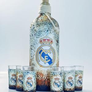 Real Madrid futball rajongói dísz- és használati italos szett - ajándék férfiaknak, férjeknek, barátoknak., Otthon & lakás, Konyhafelszerelés, Férfiaknak, Sör, bor, pálinka, Decoupage, transzfer és szalvétatechnika, Real Madrid futball rajongói dísz-és használati italos szett ajándék férfiaknak, férjeknek, barátokn..., Meska