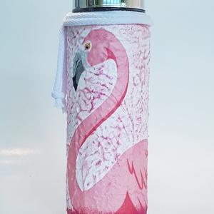 Flamingó kulacs ajándék flamingó imádónak gyermeknapra, névnapra, szülinapi partira, új évre..  , Otthon & lakás, Konyhafelszerelés, Bögre, csésze, Dekoráció, Ünnepi dekoráció, Gyereknap, Decoupage, transzfer és szalvétatechnika, Flamingó kulacs, flaska ajándék flamingó imádónak gyermeknapra, névnapra, szülinapi partira. ( 500 m..., Meska
