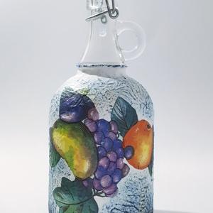 Vegyes gyümölcs italos csatos díszüveg pálinka szörp üdítő tárolására kóstoltatására házavatóta névnapra szülinapra. , Férfiaknak, Otthon & lakás, Konyhafelszerelés, Sör, bor, pálinka, Decoupage, transzfer és szalvétatechnika, Vegyes gyümölcs csatos italos dísz- és használati üveg, pálinkásüveg pálinka tárolására, kóstoltatás..., Meska