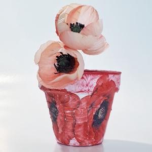 Pipacsos kaspó, virágtartó bármilyen alkalomra virág mellé., Virágtartó, Dekoráció, Otthon & Lakás, Decoupage, transzfer és szalvétatechnika, Pipacsos kaspó, virágtartó bármilyen alkalomra virág mellé. \n\nKészülhet, barmilyen mintával, képpel,..., Meska