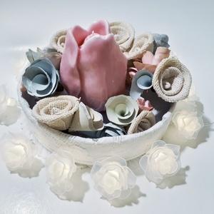 Virágbox, virág doboz tulipán gyertyával húsvéti asztalidísz, tavaszi asztali dekoráció. , Otthon & lakás, Dekoráció, Dísz, Ünnepi dekoráció, Anyák napja, Húsvéti díszek, Mindenmás, Virágbox, virág doboz tulipán gyertyával húsvéti asztalidísz, tavaszi asztali dekoráció.\n\nMérete: 18..., Meska