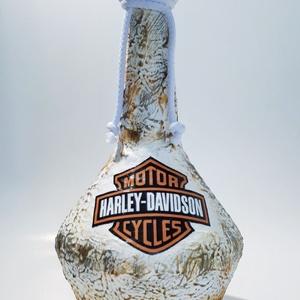 Harley Davidson whiskeys dísz- és használati italos üveg rajongói ajándék., Otthon & lakás, Konyhafelszerelés, Férfiaknak, Sör, bor, pálinka, Legénylakás, Decoupage, transzfer és szalvétatechnika, Harley Davidson whiskeys dísz- és használati italos üveg rajongói ajándék névnapra, szülinapra, kará..., Meska