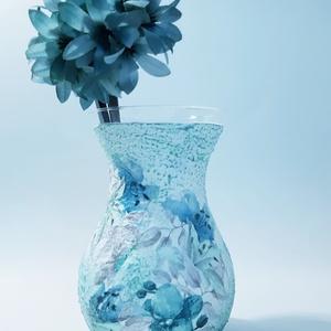 Liliom üveg váza virágot kedvelőknek szülinapra, névnapra, házavatóra, nőnapra, anyák napjára, Otthon & lakás, Lakberendezés, Kaspó, virágtartó, váza, korsó, cserép, Dekoráció, Dísz, Decoupage, transzfer és szalvétatechnika, Liliom üveg váza virágot kedvelőknek szülinapra, névnapra, házavatóra, nőnapra, anyák napjára. (maga..., Meska