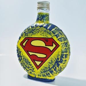 Superman hordó dísz- és használati italos üveg ajándékötlet férjeknek, barátoknak, kollegáknak., Otthon & Lakás, Díszüveg, Dekoráció, Superman hordó dísz- és használati italos üveg ajándékötlet férjeknek, barátoknak, kollegáknak. (5 d..., Meska