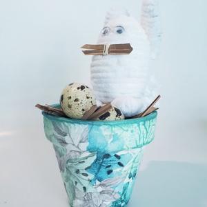 Húsvéti nyúl liliom kaspóval, fürjtojással, húsvéti asztalidísz, tavaszi asztali dekoráció, húsvéti ajándék. , Otthon & Lakás, Dekoráció, Asztaldísz, Húsvéti nyúl liliom kaspóval, fürjtojással, húsvéti asztalidísz, tavaszi asztali dekoráció, húsvéti ..., Meska