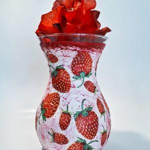 Epres váza, tavaszi asztali dísz, dekoráció névnapra, szülinapra, eperimádónak. , Otthon & Lakás, Váza, Dekoráció, Epres váza, tavaszi asztali dísz, dekoráció névnapra, szülinapra, eperimádónak, anyák napjára, nőnap..., Meska
