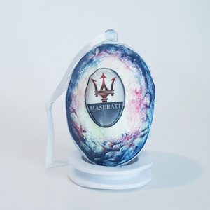 Maserati húsvéti tojás autó rajongói meglepetés tojás nem csak húsvétra, névnapra, szülinapra, gyermeknapra, Dísztárgy, Dekoráció, Otthon & Lakás, Decoupage, transzfer és szalvétatechnika, Maserati húsvéti tojás autó rajongói meglepetés tojás, locsoló ajándék nem csak húsvétra, névnapra, ..., Meska