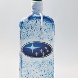 Subaru italos dísz- és használati lapos üveg  autó rajongói ajándék., Otthon & lakás, Konyhafelszerelés, Férfiaknak, Sör, bor, pálinka, Legénylakás, Decoupage, transzfer és szalvétatechnika, Subaru italos dísz- és használati lapos üveg autó rajongói ajándék.\n\n(750-1000 ml)\n\nSubaru rajongó c..., Meska