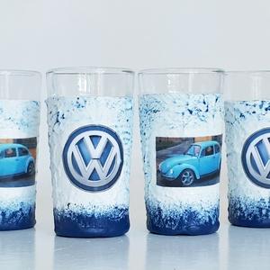 Volkswagen bogár rajongóknak pálinkás dísz-és használati röviditalos pohárszett 6db-os, Férfiaknak, Sör, bor, pálinka, Otthon & lakás, Konyhafelszerelés, Decoupage, transzfer és szalvétatechnika, Volkswagen bogár rajongóknak dísz-és használati röviditalos pohárszett (6x25 ml)\n\nBeetle kedvelőknek..., Meska