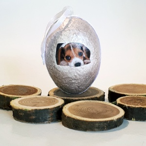 Állatos kutyás meglepetés tojás kutyabarátoknak, húsvéti tojás nem csak húsvétra, névnapra, szülinapra, gyermeknapra., Függődísz, Dekoráció, Otthon & Lakás, Decoupage, transzfer és szalvétatechnika, Állatos, kutya meglepetés tojás kutyabarátoknak, locsoló ajándék, húsvéti tojás, ajándék nem csak hú..., Meska