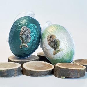 Állatos bagol meglepetés tojás bagoly imádóknak húsvéti tojás nem csak húsvétra, névnapra, szülinapra, gyermeknapra., Függődísz, Dekoráció, Otthon & Lakás, Decoupage, transzfer és szalvétatechnika, Állatos, bagoly meglepetés tojás bagoly imádóknak, locsoló ajándék, húsvéti tojás, ajándék nem csak ..., Meska
