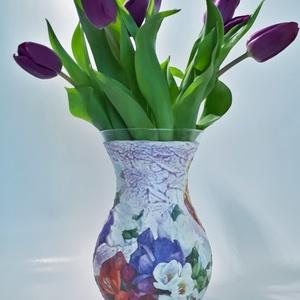 Frézia virágos üveg váza, virágos asztali dekoráció névnapra, szülinapra, karácsonyra, húsvétra, anyák napjára., Otthon & Lakás, Váza, Dekoráció, Frézia virágos üveg váza, virágos asztali dekoráció névnapra, szülinapra, karácsonyra, húsvétra, any..., Meska