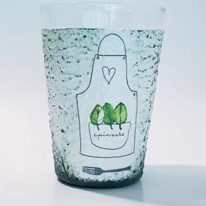 Zöld fűszernövényes vizes pohár, üdítős pohá,r konyhai kiegészítő névnapra, szülinapra, anyáknapjára, karácsonyra. , Otthon & lakás, Konyhafelszerelés, Bögre, csésze, Dekoráció, Dísz, Ünnepi dekoráció, Anyák napja, Decoupage, transzfer és szalvétatechnika, Zöld fűszernövényes vizes pohár, üdítős pohá,r konyhai kiegészítő névnapra, szülinapra, anyáknapjára..., Meska