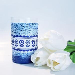 Kék virágmintás népművészeti dísz- és használati üdítős pohár, vizes pohár szülinapra, anyáknapjára, Otthon & lakás, Konyhafelszerelés, Dekoráció, Ünnepi dekoráció, Anyák napja, Bögre, csésze, Decoupage, transzfer és szalvétatechnika, Kék virágmintás népművészeti dísz- és használati üdítős pohár, vizes pohár névnapra, szülinapra, any..., Meska