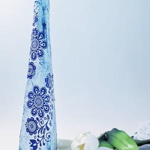 Kék virágmintás népművészeti váza, asztali dísz, konyhadísz  szülinapra, anyáknapjára, Váza, Dekoráció, Otthon & Lakás, Decoupage, transzfer és szalvétatechnika, Kék virágmintás népművészeti váza, asztali dísz, konyhadísz névnapra, szülinapra, anyáknapjára, kará..., Meska