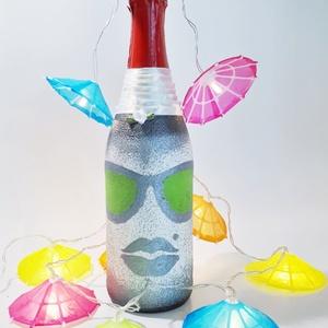 Csajos, pasis neon zöld alkoholmentes gyermek pezsgő  eljegyzésre, legénybúcsúba, nászajándékba, névnapra, szülinapra., Nászajándék, Emlék & Ajándék, Esküvő, Decoupage, transzfer és szalvétatechnika, Csajos, pasis neon zöld szemüveges modern gyermek  pezsgő a esküvőre, eljegyzésre, leánybúcsúba, leg..., Meska