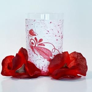 Piros virágmintás skandináv népművészeti dísz- és használati üdítős pohár, vizespohár szülinapra, anyáknapjára, Otthon & lakás, Konyhafelszerelés, Dekoráció, Ünnepi dekoráció, Anyák napja, Decoupage, transzfer és szalvétatechnika, Piros virágmintás skandináv népművészeti dísz- és használati üdítős pohár, vizes pohár névnapra, szü..., Meska