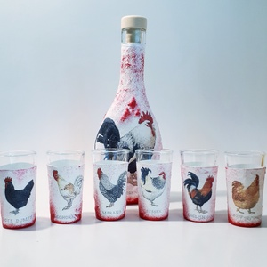 Kiskakas gyémánt félkrajcárja dísz és használati italos üveg + röviditalos pohárszett farm kedvelőknek, gazdáknak. , Üveg & Kancsó, Konyhafelszerelés, Otthon & Lakás, Decoupage, transzfer és szalvétatechnika, Kiskakas gyémánt félkrajcárja dísz és használati italos üveg + röviditalos pohárszett állatbarátokna..., Meska