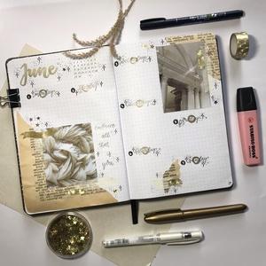 Bullet journal heti nyomtatható tervező, arany, vintage témájú, 2020 június 23. hét, 3 az 1-ben naptár, tervező, napló., Otthon & lakás, Naptár, képeslap, album, Jegyzetfüzet, napló, Naptár, Dekoráció, Ünnepi dekoráció, Gyereknap, Fotó, grafika, rajz, illusztráció, Bullet journal heti nyomtatható tervező, arany, vintage témájú, 2020 június 23. hét, 3 az 1-ben napt..., Meska