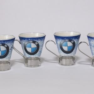 BMW kávéspohár 4db-os szett autó rajongói ajándék férfiaknak, férjeknek, barátoknak, kollegáknak, Otthon & Lakás, Konyhafelszerelés, Pohár, Decoupage, transzfer és szalvétatechnika, Meska