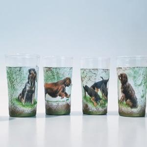 Vadászkutyás dísz- és használati röviditalos pohárszett, pálinkás pohár, snapszos pohár állatbarátoknak, vadászoknak., Pohár, Konyhafelszerelés, Otthon & Lakás, Decoupage, transzfer és szalvétatechnika, Vadászkutyás dísz- és használati röviditalos pohárszett, pálinkás pohár, snapszos pohár állatbarátok..., Meska