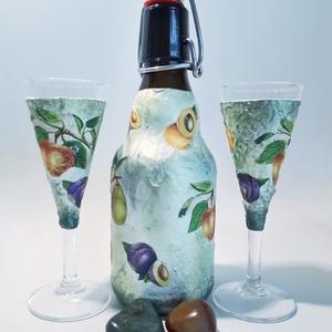 Vegyes gyümölcs italos csatos díszüveg pálinka tárolására kóstoltatására talpas pohárral házavatóta névnapra szülinapra., Üveg & Kancsó, Konyhafelszerelés, Otthon & Lakás, Decoupage, transzfer és szalvétatechnika, Vegyes gyümölcs italos csatos díszüveg pálinka tárolására kóstoltatására talpas pohárral házavatóta ..., Meska