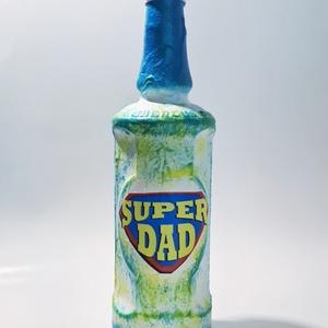 Superdad dísz- és használati italos üveg, szörpös üveg  édesapáknak nem csak apák napjára, névnapra, szülinapra..., Otthon & Lakás, Üveg & Kancsó, Konyhafelszerelés, Decoupage, transzfer és szalvétatechnika, Meska