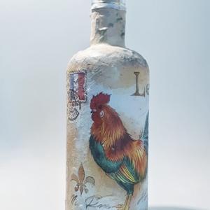 Gall kakas dísz és használati italos üveg, pálinkás üveg, boros üveg farm kedvelőknek, gazdáknak. , Üveg & Kancsó, Konyhafelszerelés, Otthon & Lakás, Decoupage, transzfer és szalvétatechnika, Gall kakas dísz és használati italos üveg, pálinkás üveg, boros üveg farm kedvelőknek, gazdáknak.  (..., Meska
