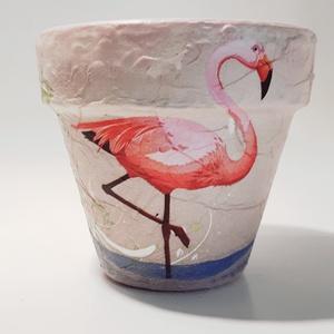 Flamingó agyag cserép, kaspó, virágtartó  kaspó ajándék szülinapra, névnapra, házavatóra flamingó kedvelőknek, Cserép & Kaspó, Ház & Kert, Otthon & Lakás, Decoupage, transzfer és szalvétatechnika, Flamingó agyag cserép, kaspó, virágtartó  kaspó ajándék szülinapra, névnapra, házavatóra, gyermeknap..., Meska