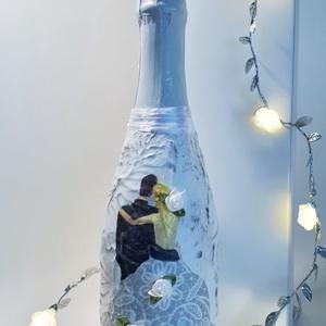 Szőke menyasszoy Mr. and Mrs. menyasszony és vőlegény ezüst dekor pezsgő esküvőre eljegyzésre évfordulóra, nászajándék. , Esküvő, Asztaldísz, Dekoráció, Decoupage, transzfer és szalvétatechnika, Meska