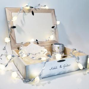 Mr. and Mrs. menyasszony és vőlegény ezüst dekor fa díszdoboz, emlékdoboz, pénzgyűjtő esküvőre eljegyzésre évfordulóra. , Esküvő, Emlék & Ajándék, Doboz, Decoupage, transzfer és szalvétatechnika, Mr. and Mrs. menyasszony és vőlegény ezüst dekor fa díszdoboz, emlékdoboz, pénzgyűjtő esküvőre, elje..., Meska