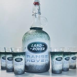 Landrover rajongóknak csatos dísz-és használati italos üveg, borosüveg, pálinkásüveg márka fanoknak röviditalos poharak, Üveg & Kancsó, Konyhafelszerelés, Otthon & Lakás, Decoupage, transzfer és szalvétatechnika, Landrover rajongóknak csatos dísz-és használati italos üveg, borosüveg, pálinkásüveg röviditalos poh..., Meska