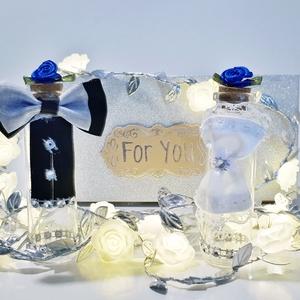 Menyasszony és vőlegény só- és borstartó díszdobozban esküvőre, eljegyzésre, lakodalomba királykék rózsával.  , Esküvő, Esküvői dekoráció, Nászajándék, Otthon & lakás, Konyhafelszerelés, Fűszertartó, Mindenmás, Menyasszony és vőlegény só- és borstartó díszdobozban esküvőre, eljegyzésre, lakodalomba királykék r..., Meska