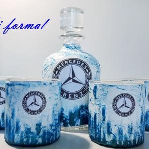 Mercedes  rajongóknak egyedi különleges formájú whiskys üveg házavatóra, tejfakasztó bulira, szülinapra, névnapra., Üveg & Kancsó, Konyhafelszerelés, Otthon & Lakás, Decoupage, transzfer és szalvétatechnika, Mercedes rajongóknak egyedi különleges formájú whiskys üveg poharakkal névnapra, szülinapra, házassá..., Meska