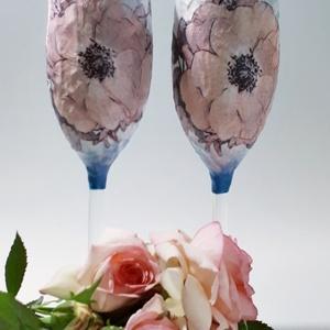Tubarózsás BB cuvée pink rózsás pezsgőgőspohár esküvőre, eljegyzésre, nászajándékba, szülinapra, névnapra, évfordulóra., Esküvő, Asztaldísz, Dekoráció, Decoupage, transzfer és szalvétatechnika, Meska