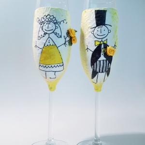 Bohokás, bohém menyasszony és vőlegény pezsgős pohár esküvőre, eljegyzésre, leánybúcsúba, legénybúcsúba, nászajándékba., Esküvő, Nászajándék, Emlék & Ajándék, Bohokás, bohém sárga rózsás menyasszony és vőlegény pezsgős pohár esküvőre, eljegyzésre, leánybúcsúb..., Meska