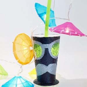 Neon zöld sötétben világító koktélos pohárszett házavatóra tejfakasztó bulira szülinapra névnapra házassági évfordulóra., Esküvő, Otthon & lakás, Konyhafelszerelés, Bögre, csésze, Decoupage, transzfer és szalvétatechnika, Neon zöld pasis, csajos sötétben világító napszemüveges koktélos pohárszett (2 db) házavatóra, tejfa..., Meska