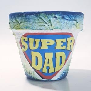Superdad virágtartó, agyagcserép szuper apáknak, szuperhősöknek, ajándék apának névnapra, szüinapra, karácsonyra, Cserép & Kaspó, Ház & Kert, Otthon & Lakás, Decoupage, transzfer és szalvétatechnika, Superdad virágtartó, agyagcserép szuper apáknak, szuperhősöknek, ajándék apának névnapra, szüinapra,..., Meska
