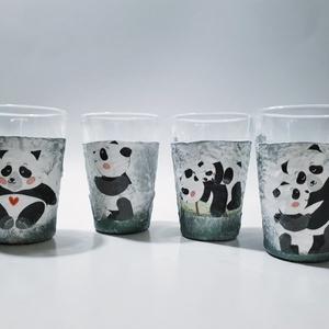 Panda röviditalos pálinkás pohárszett iegyedi pandamacis ajándék szülinapra névnapra házavatóra karácsonyra, Otthon & Lakás, Pohár, Konyhafelszerelés, Panda röviditalos, pálinkás dísz- és használati pohárszett, egyedi pandamacis ajándék szülinapra, né..., Meska