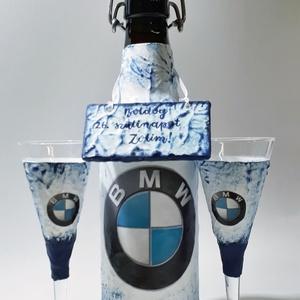 BMW csatos üveg BMW rajongói ajándék taplas pohárral fém táblával szülinapra, névnapra, karácsonyra., Otthon & Lakás, Dekoráció, Díszüveg, Decoupage, transzfer és szalvétatechnika, BMW csatos üveg BMW rajongói ajándék taplas pohárral fém táblával szülinapra, névnapra, karácsonyra...., Meska