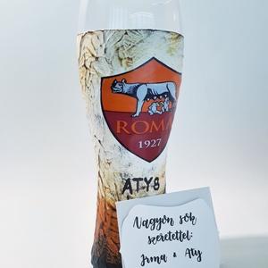 As Roma foci rajongói ajándék - sörös pohár sörimádóknak, focirajongóknak, férjeknek, barátoknak, sport imádóknak. , Férfiaknak, Sör, bor, pálinka, Legénylakás, Focirajongóknak, As Roma foci rajongói ajándék - sörös pohár sörimádóknak, focirajongóknak, férjeknek, barátoknak, sp..., Meska