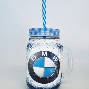 BMW  szívószálas üveg, sörös korsó, üveg fedővel 3 az 1-ben BMW autó rajongói ajándék szüinapra, névnapra, gyermeknapra, Otthon & Lakás, Konyhafelszerelés, Pohár, Decoupage, transzfer és szalvétatechnika, BMW  szívószálas üveg, sörös korsó, üveg fedővel 3 az 1-ben BMW autó rajongói ajándék szüinapra, név..., Meska