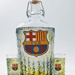 Fc Barcelona futball rajongói dísz- és használati csatos italos üveg  snapszos pohárral ajándék férfiaknak, férjeknek..., Üveg & Kancsó, Konyhafelszerelés, Otthon & Lakás, Decoupage, transzfer és szalvétatechnika, Fc Barcelona futball rajongói dísz-és használati csatos italos üveg snapszos pohárral ajándék férfia..., Meska