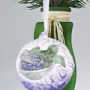 Levendula üveggömb, karácsonyfadísz, különleges karácsonyi ajándék és dekoráció levendula imádóknak. , Karácsony, Karácsonyfadíszek, Festett tárgyak, Meska