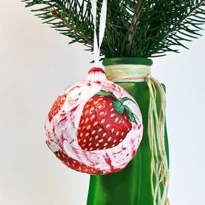 Eper üveggömb, epres karácsonyfadísz, különleges karácsonyi ajándék és dekoráció eper imádóknak. , Karácsonyfadísz, Karácsony & Mikulás, Otthon & Lakás, Festett tárgyak, Eper üveggömb, epres karácsonyfadísz, különleges karácsonyi ajándék és dekoráció eper imádóknak. Kit..., Meska